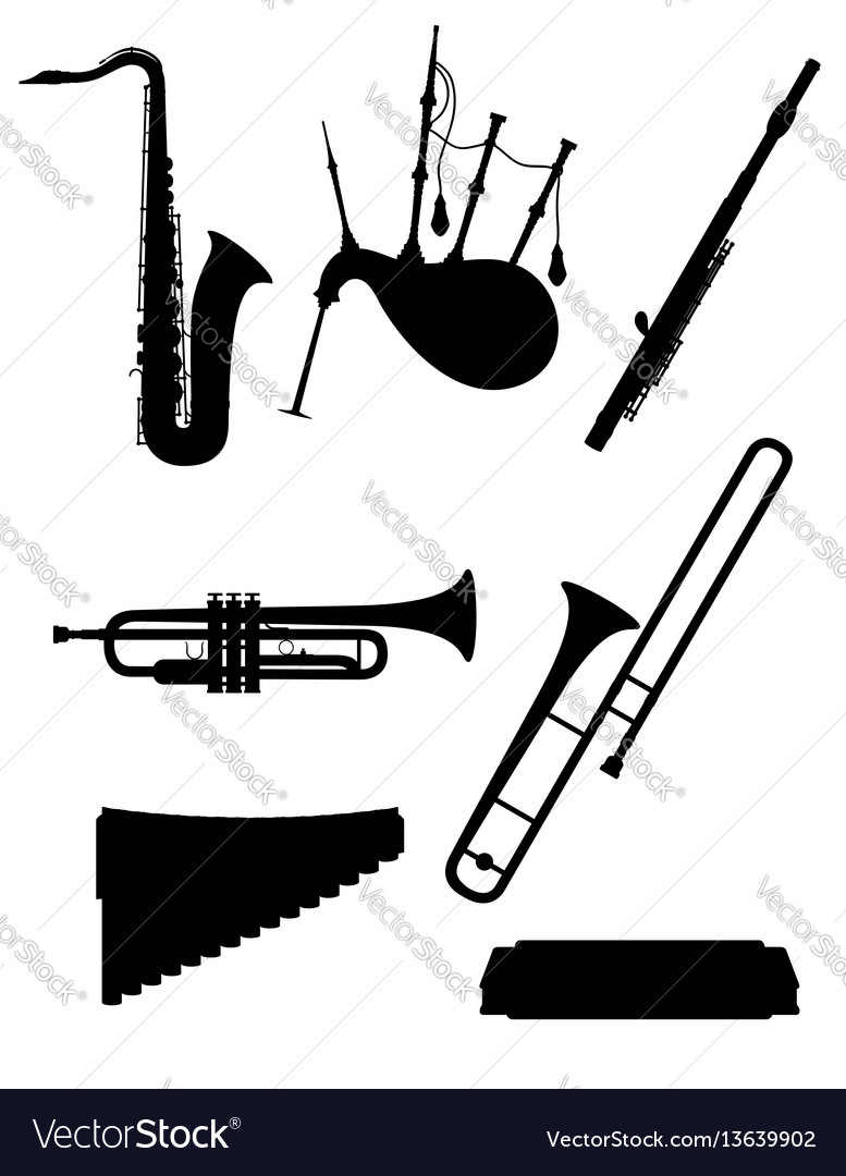 Wind musical instruments set icons black outline