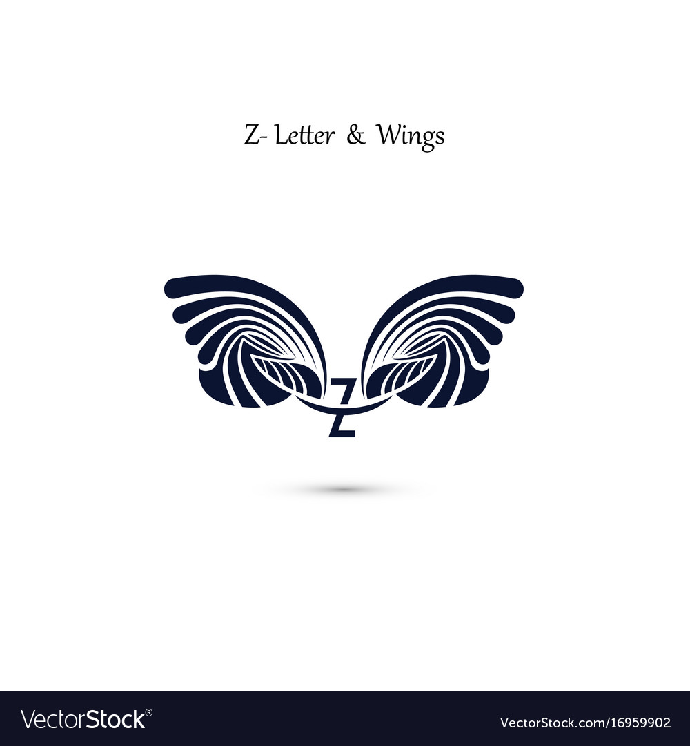 Z letter sign and angel wings monogram wing logo