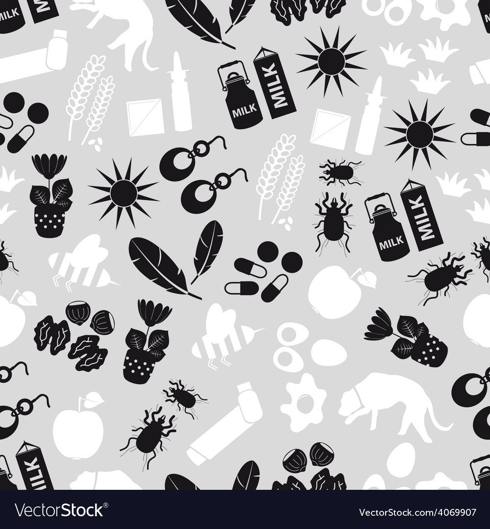Allergy and allergens gray seamless pattern eps10 vector image