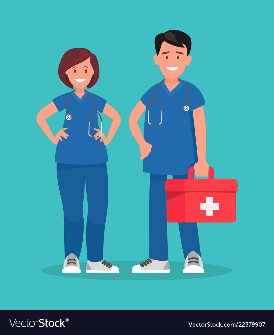 Ambulance staff couple of doctors