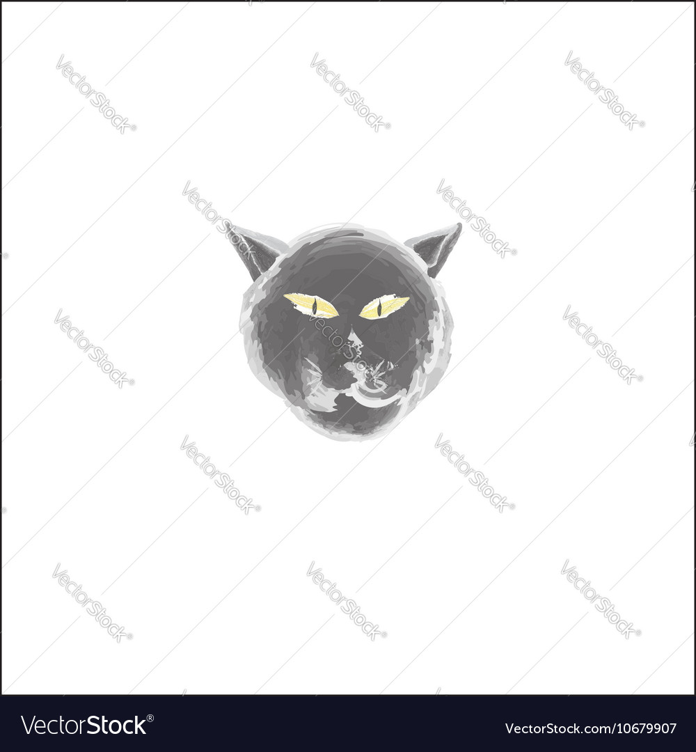 Black cat face watercolor style vector image
