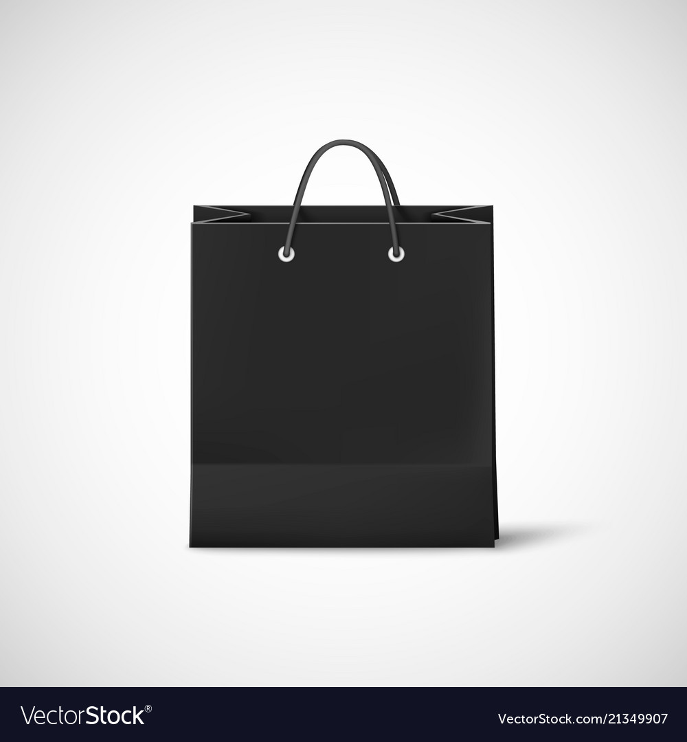 black shopping paper bag template of empty black vector image