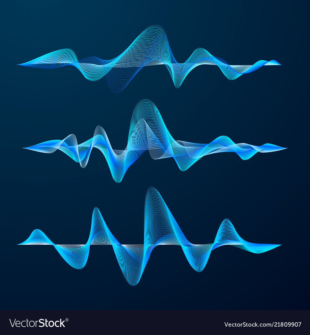 Blue sound waves track design set of audio waves