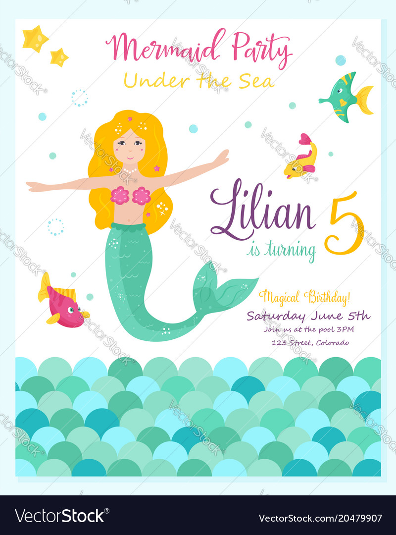 Bright Invitation Card With Cute Fairy Mermaid
