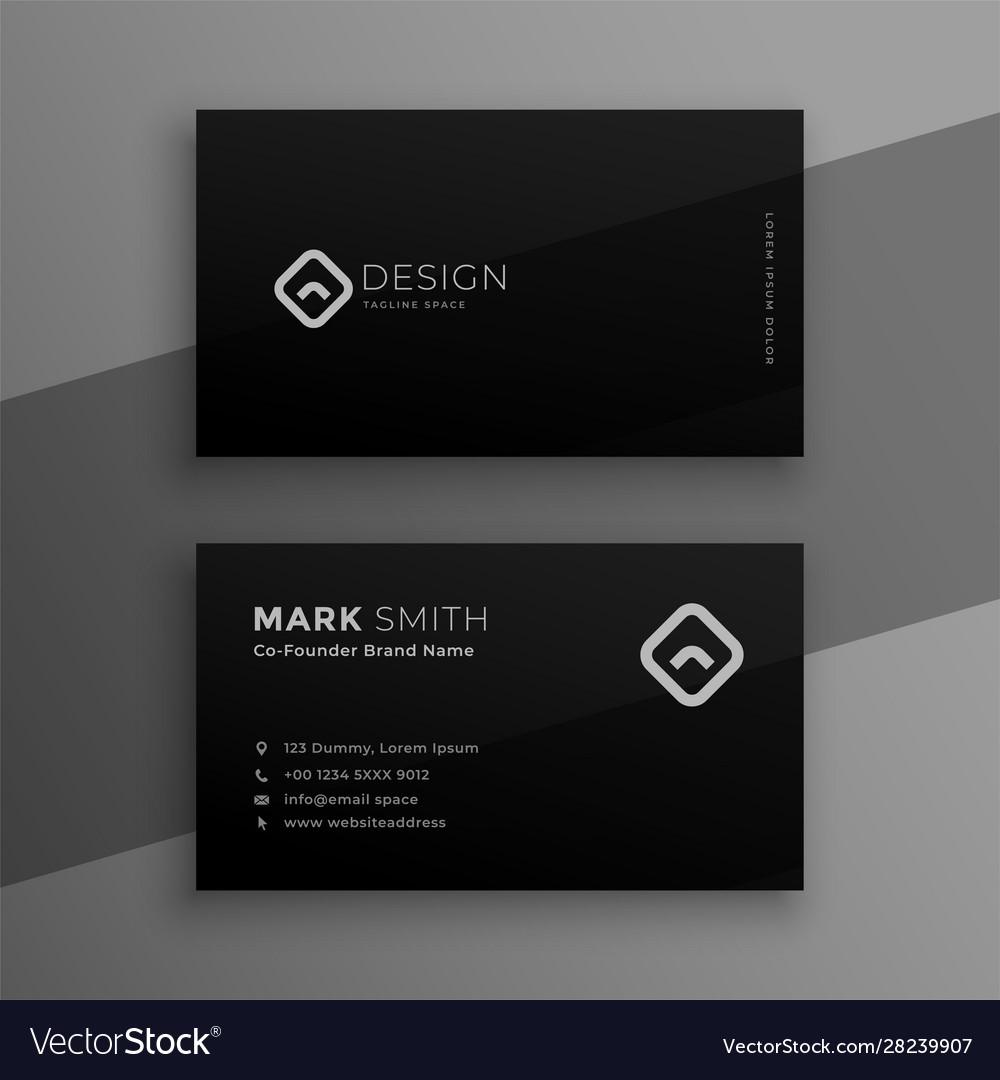 Dark black elegant business card template design
