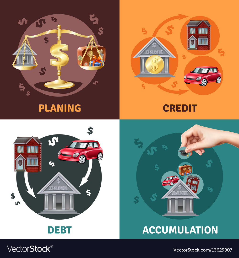 Debt credit concept 4 flat icons