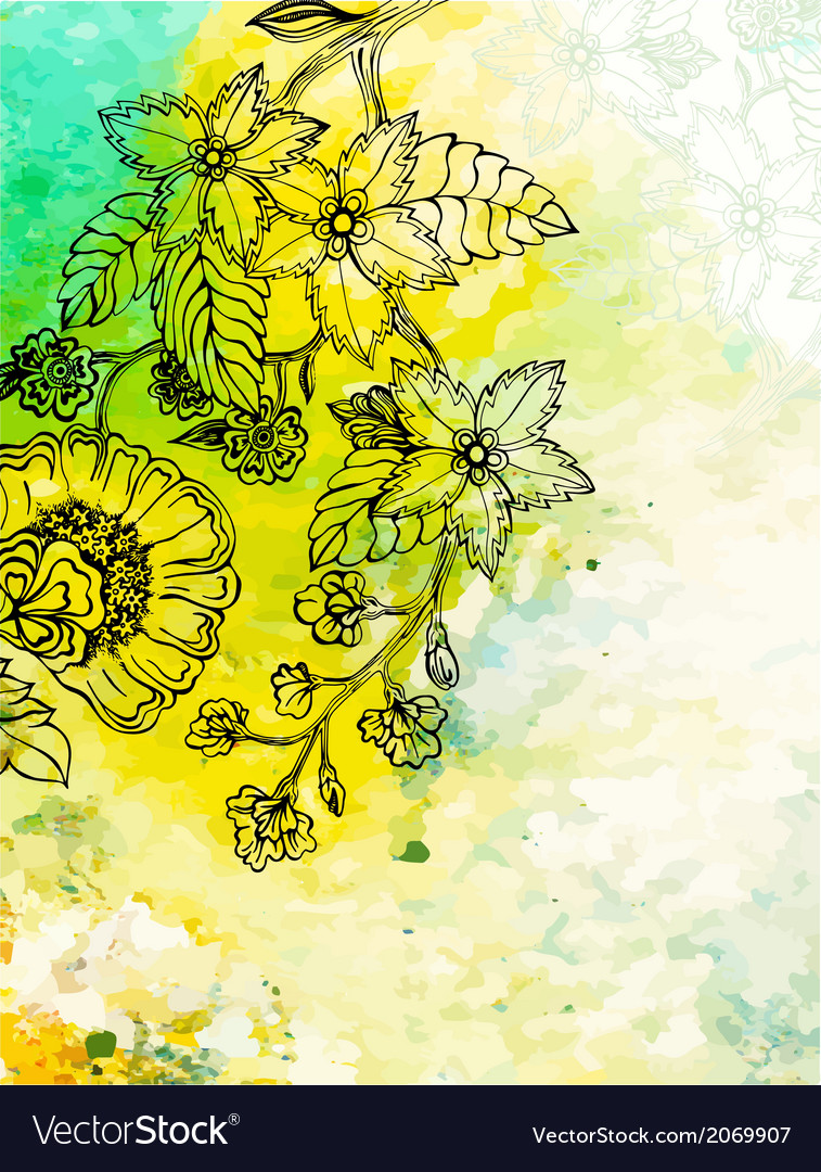 Floral background on abstract watercolour texture vector image