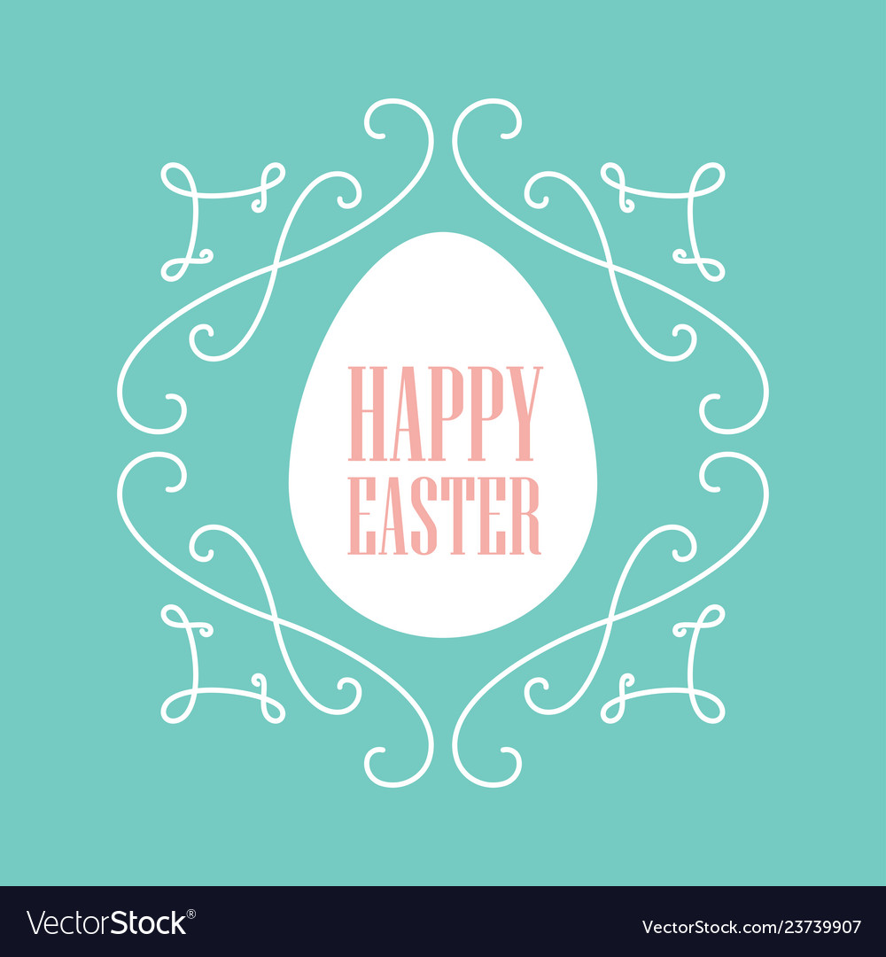Happy easter festive card with floral line art