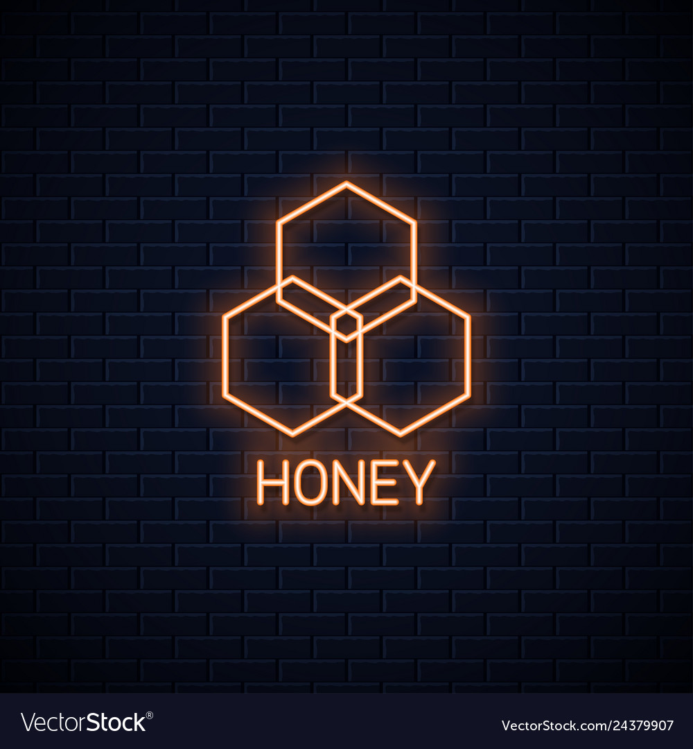 Honey comb neon banner organic honey neon sign