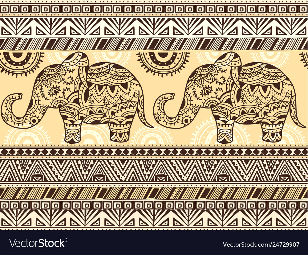 Pattern with ethnic patterns and elephant