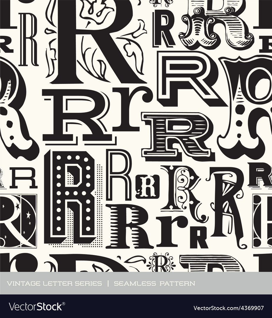 Seamless vintage pattern letter R