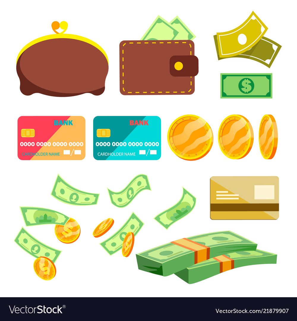 Shopping icons wallet money credit cart