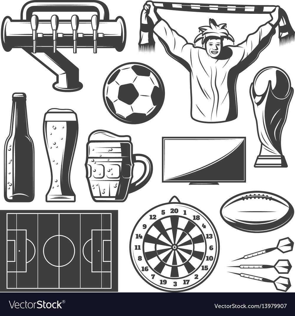 Vintage sport bar elements collection vector image