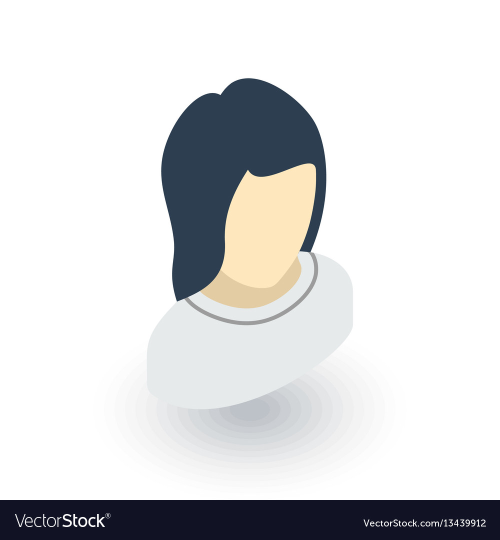 Avatar woman isometric flat icon 3d