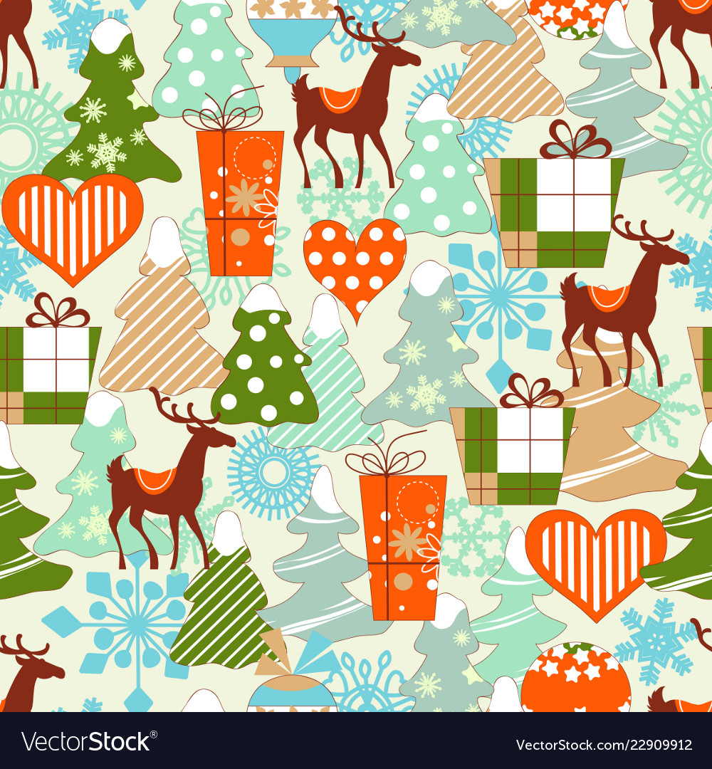 Christmas pattern reindeers and gifts