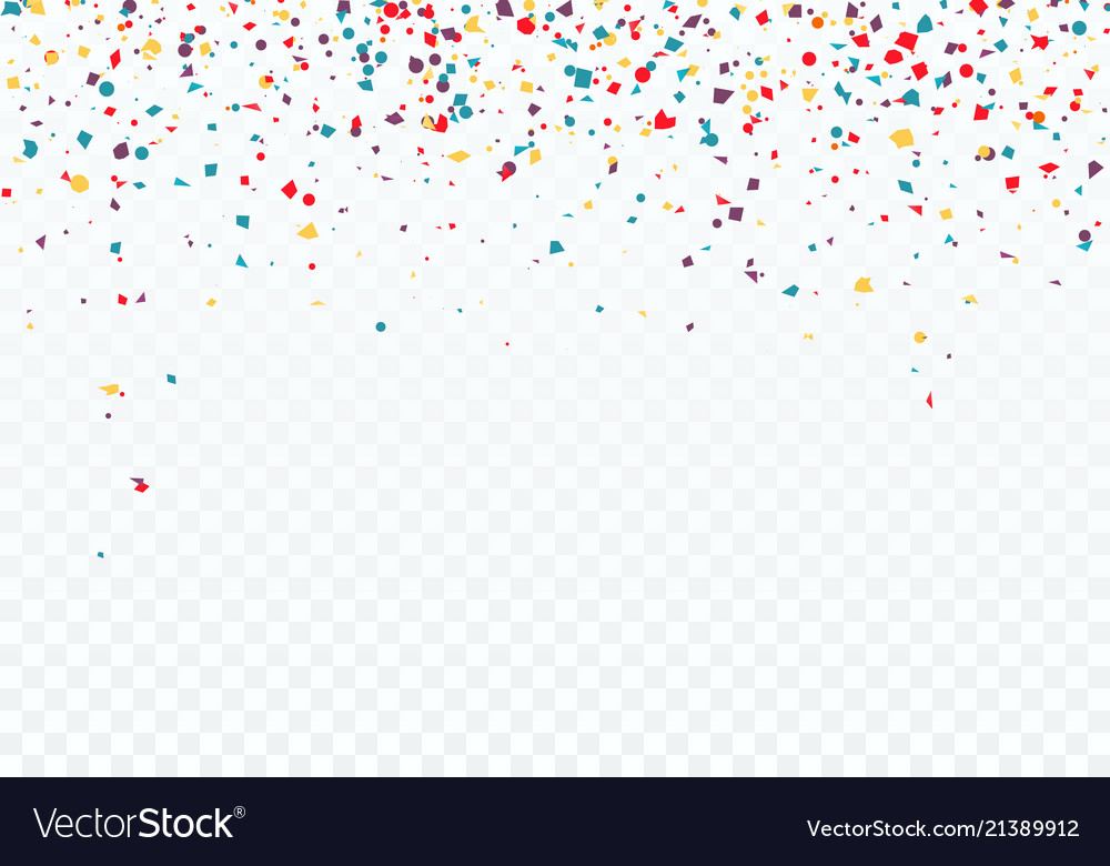 Colorful falling confetti top of the pattern is