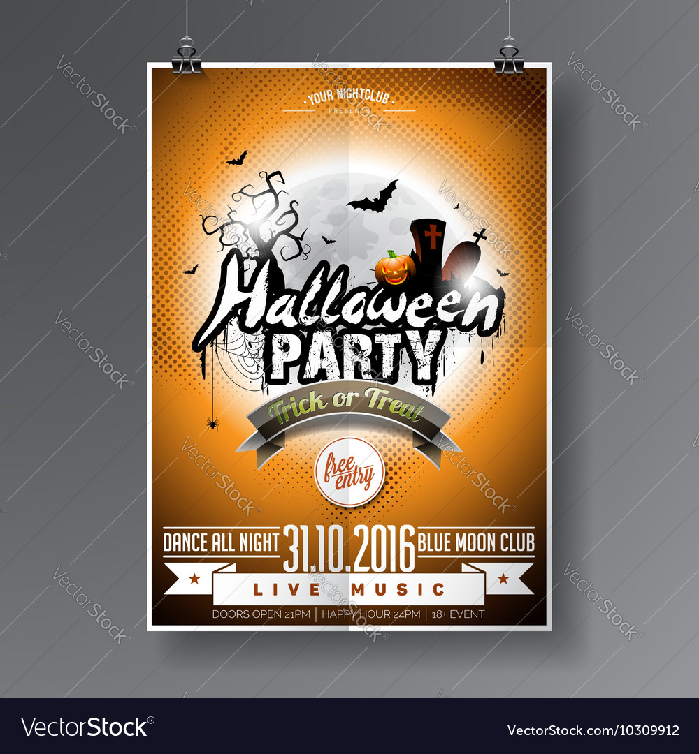 Halloween Party Flyer Design with graves and moon