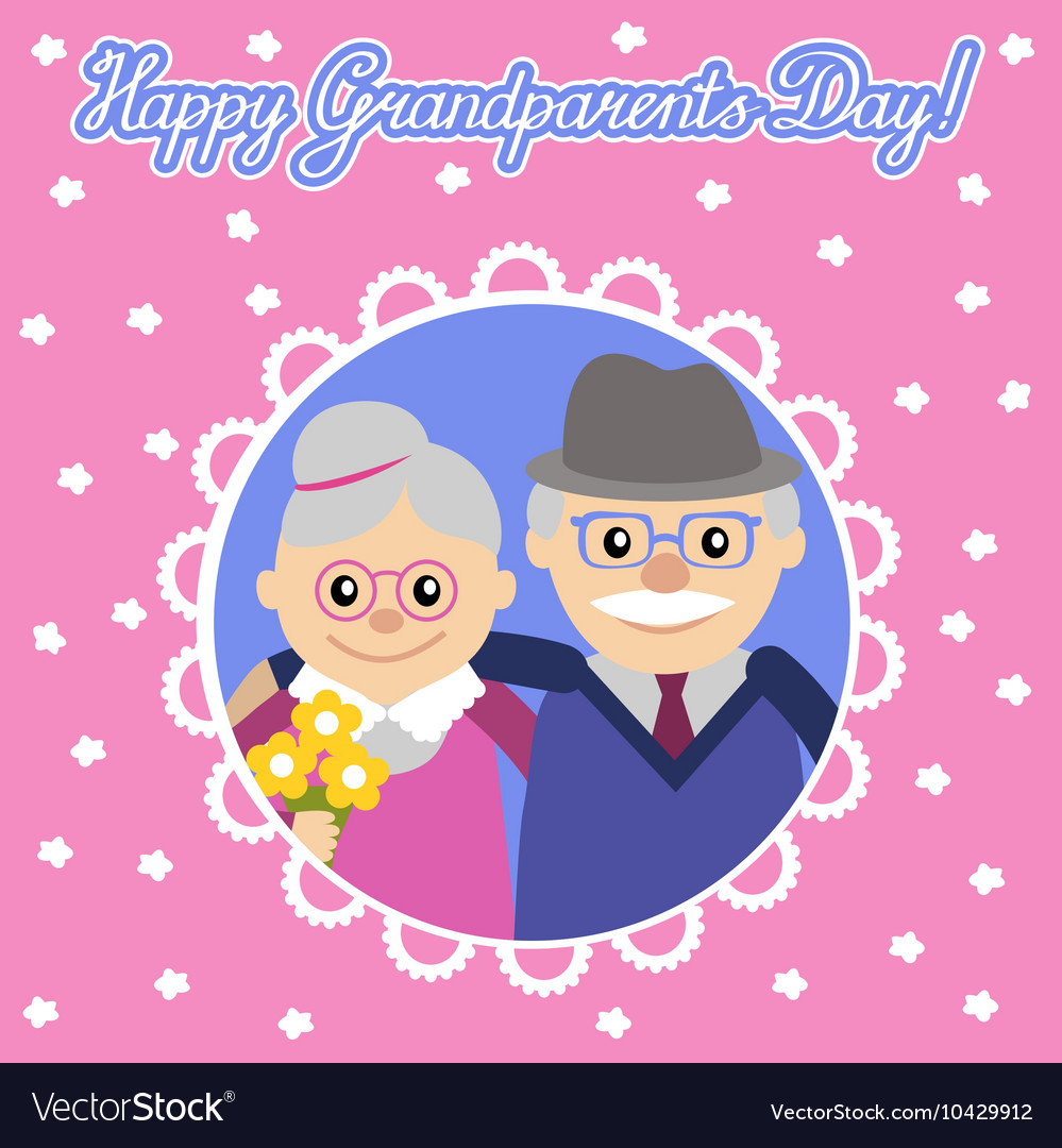 Happy senior man woman family with flowers
