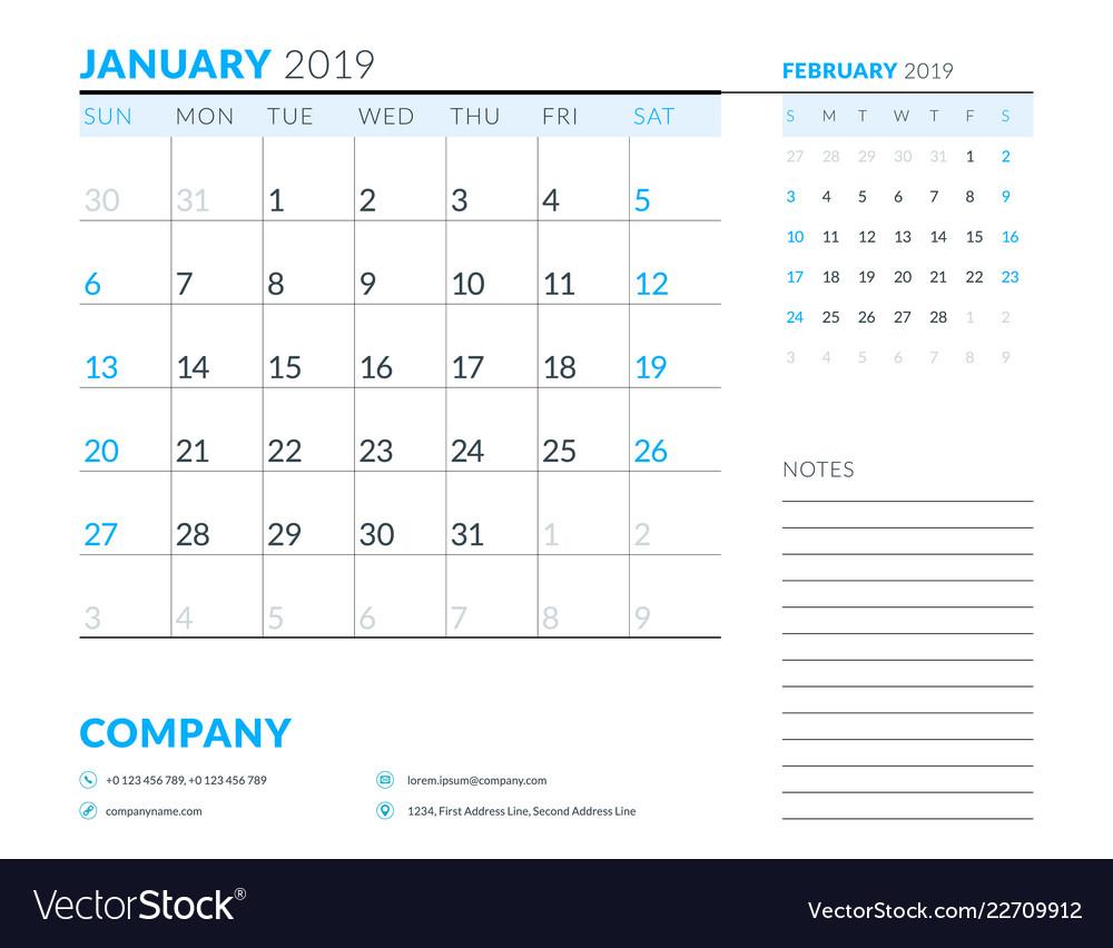 January 2019 Week Starts On Sunday Calendar Vector Image