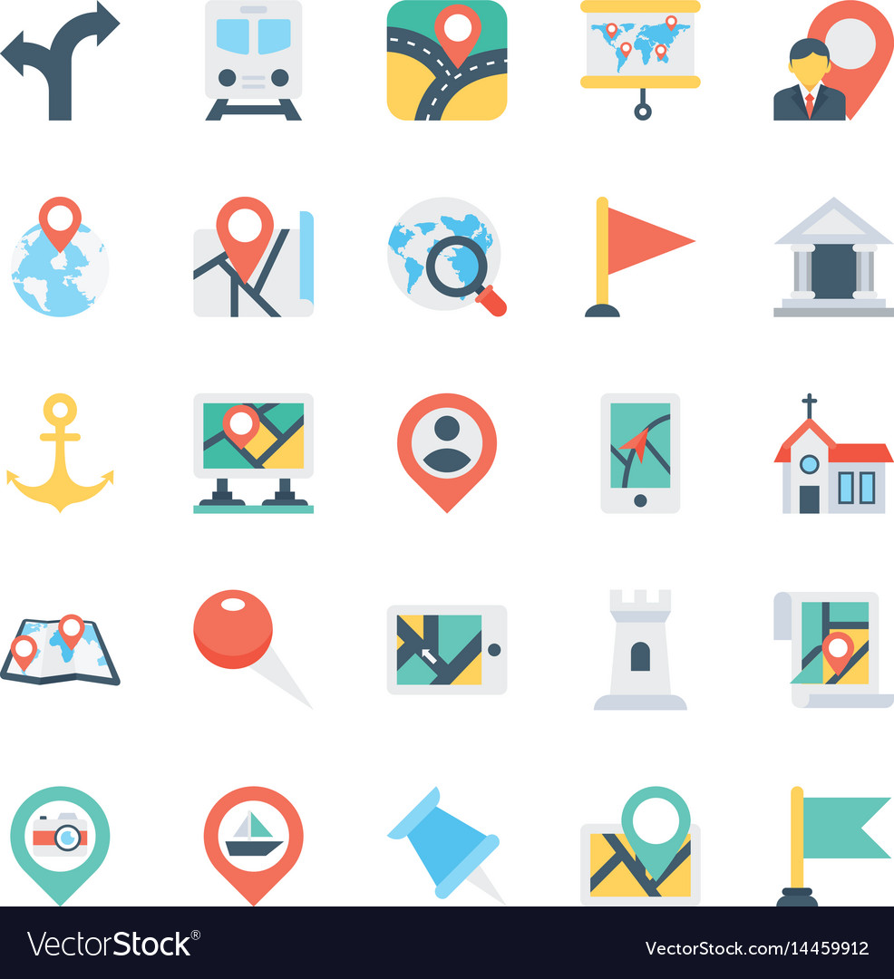 Map and navigation colored icons 1