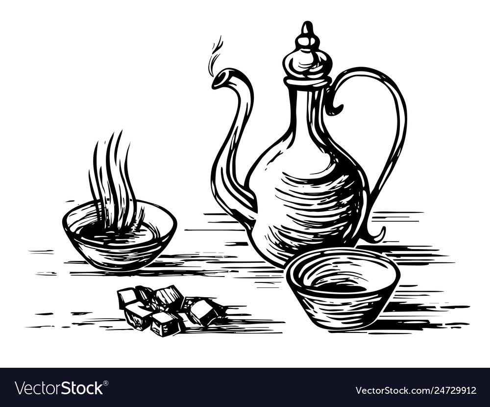 Oriental tea engraving