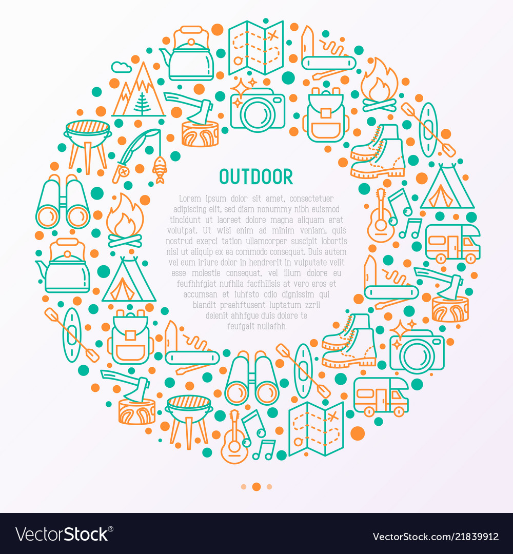 Outdoor concept in circle with thin line icons