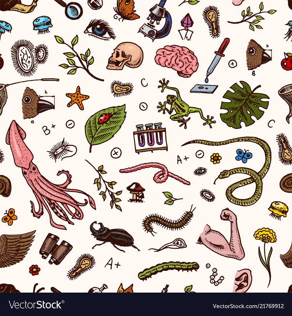 Science seamless pattern scientific laboratory in