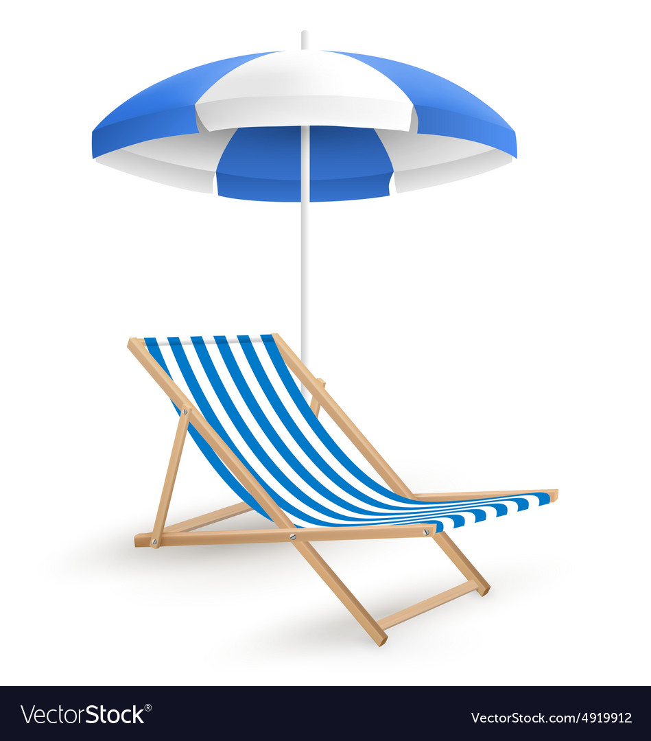 Sun beach umbrella with beach chair isolated on