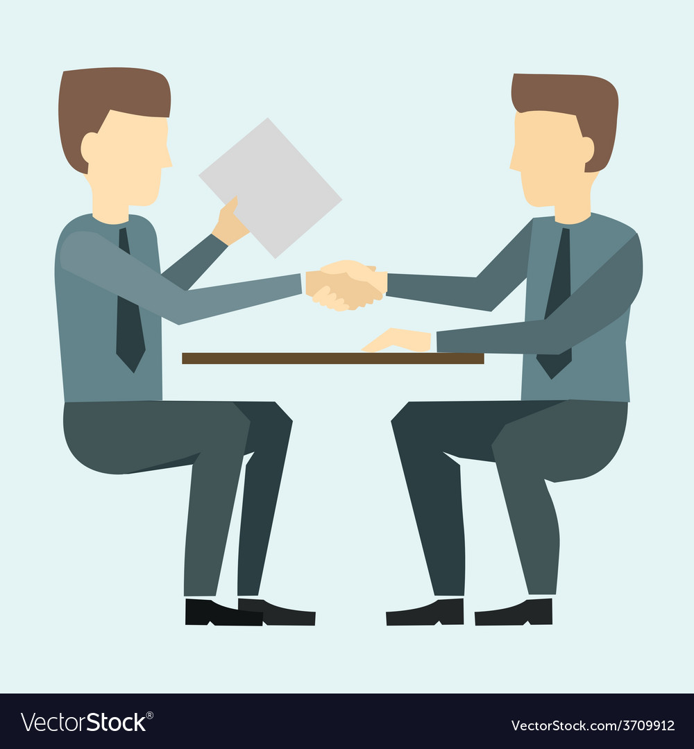 Two businessmen shaking hands and negotiate