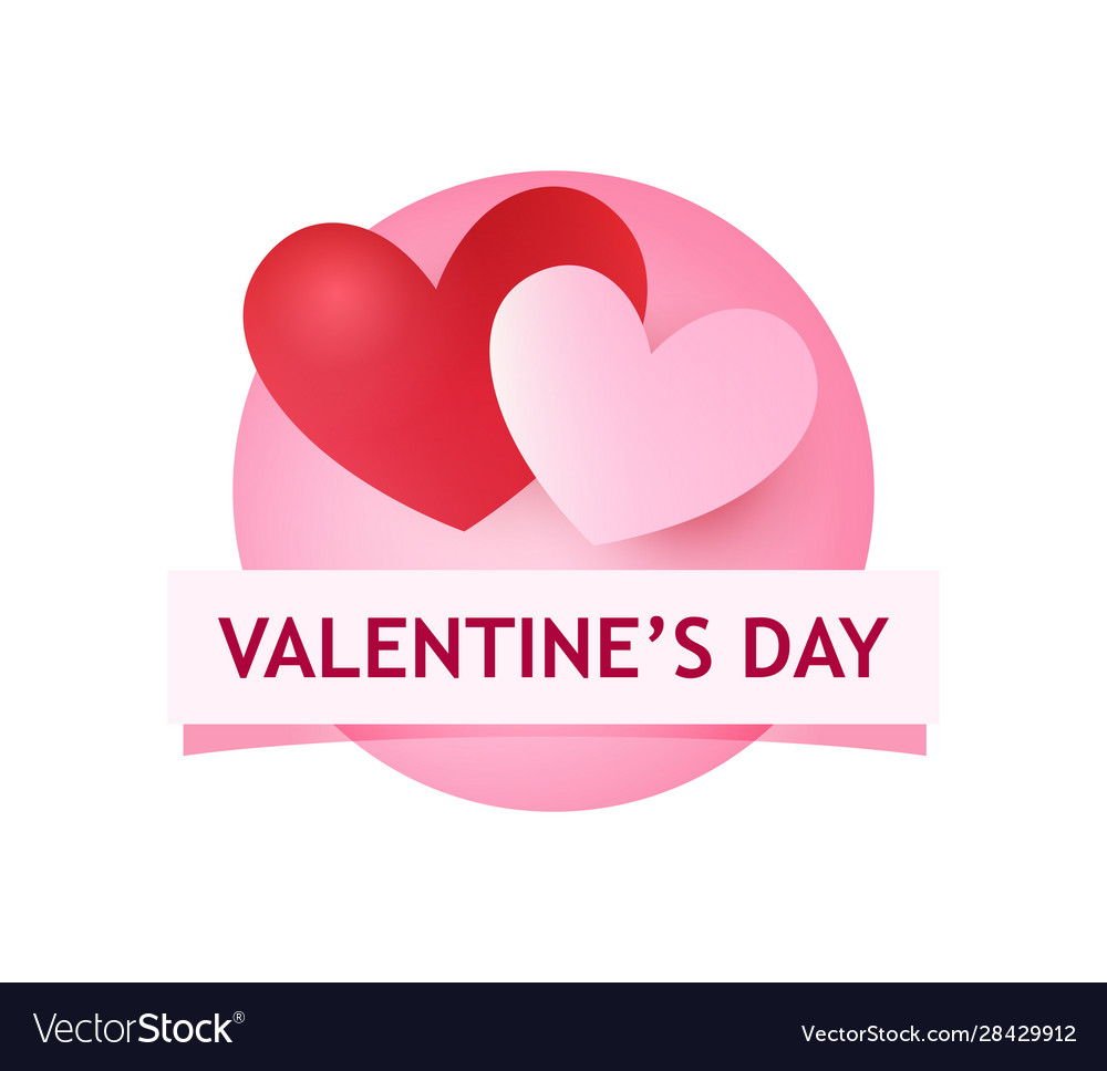 Valentines day round logo with heart and caption