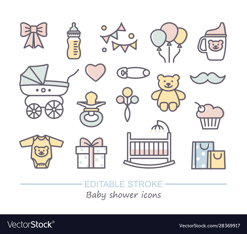 Baby shower line icons with editable stroke