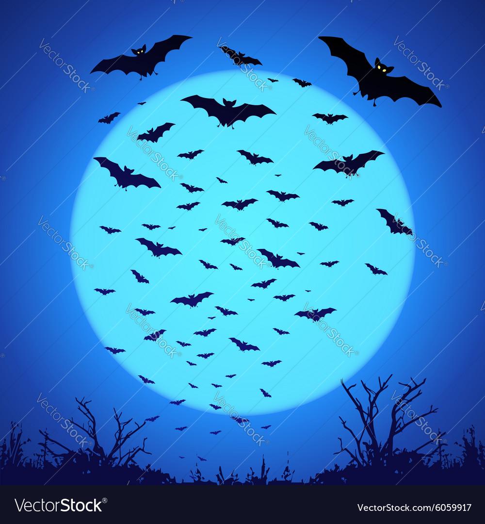 Black bats silhouettes on big blue moon at dark