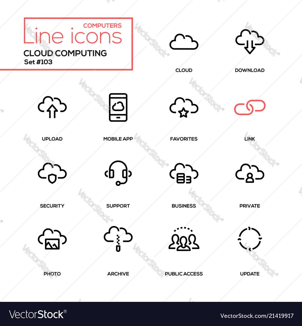 Cloud computing - modern line design icons set