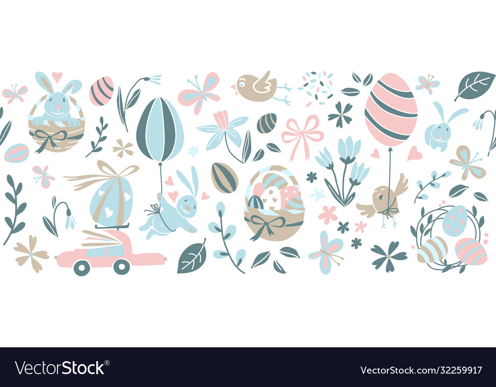 Funny happy easter eggs hunt seamless pattern