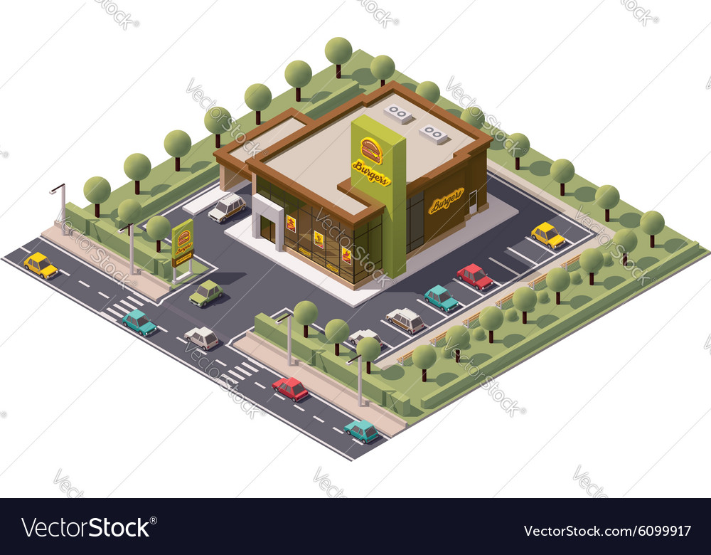 Isometric fast food restaurant