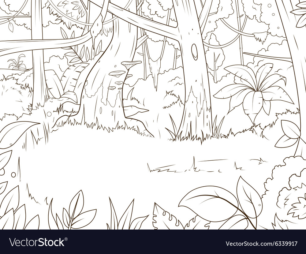 Jungle forest cartoon coloring book Royalty Free Vector