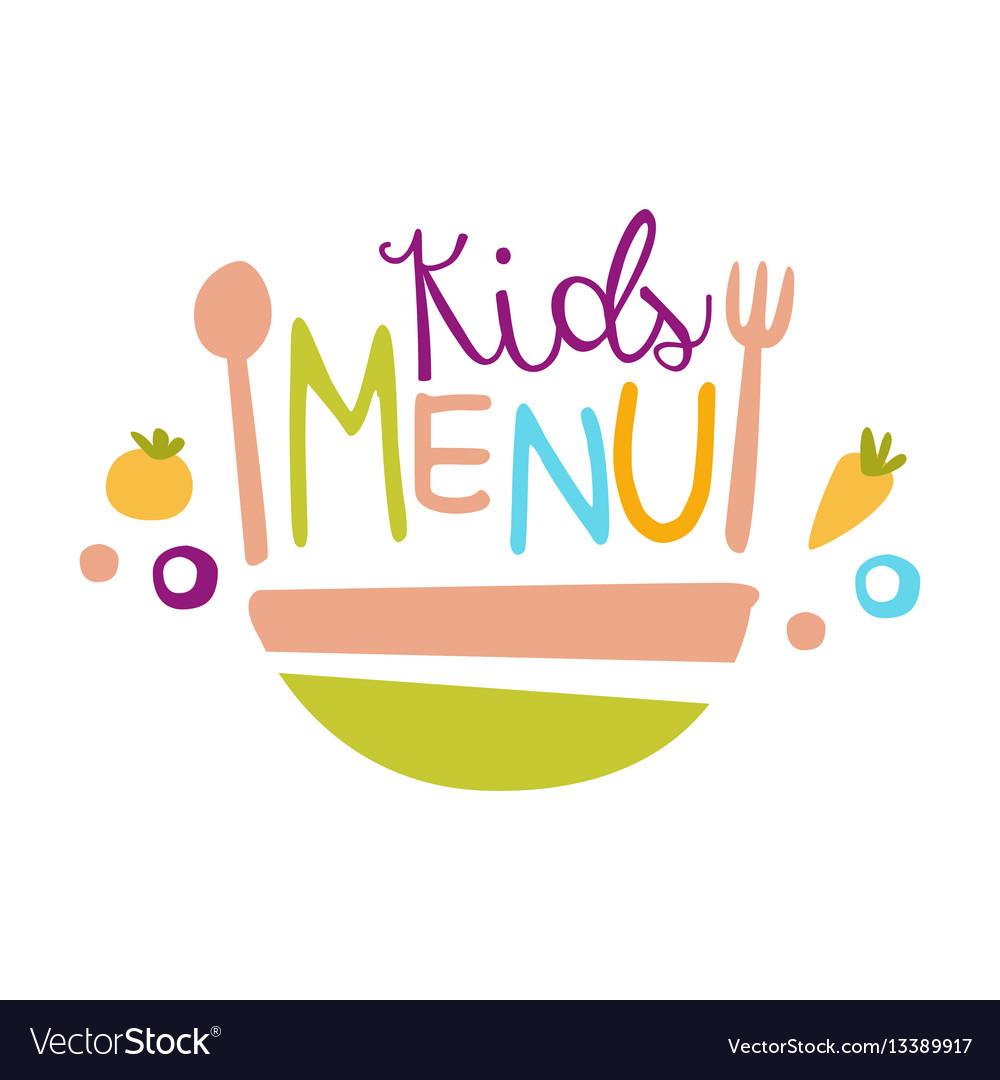 Kids food cafe special menu for children colorful