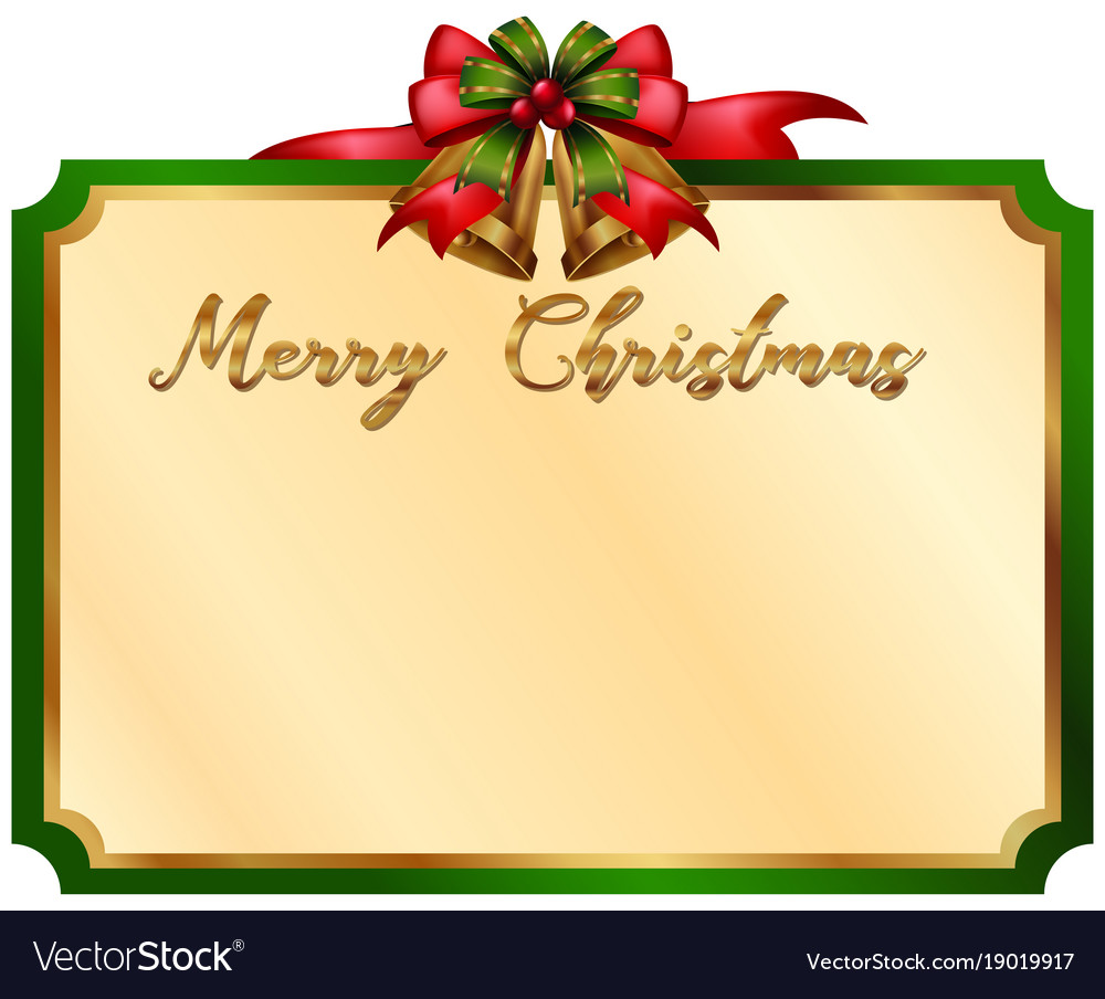 Christmas Card Border.Merry Christmas Card With Green Border