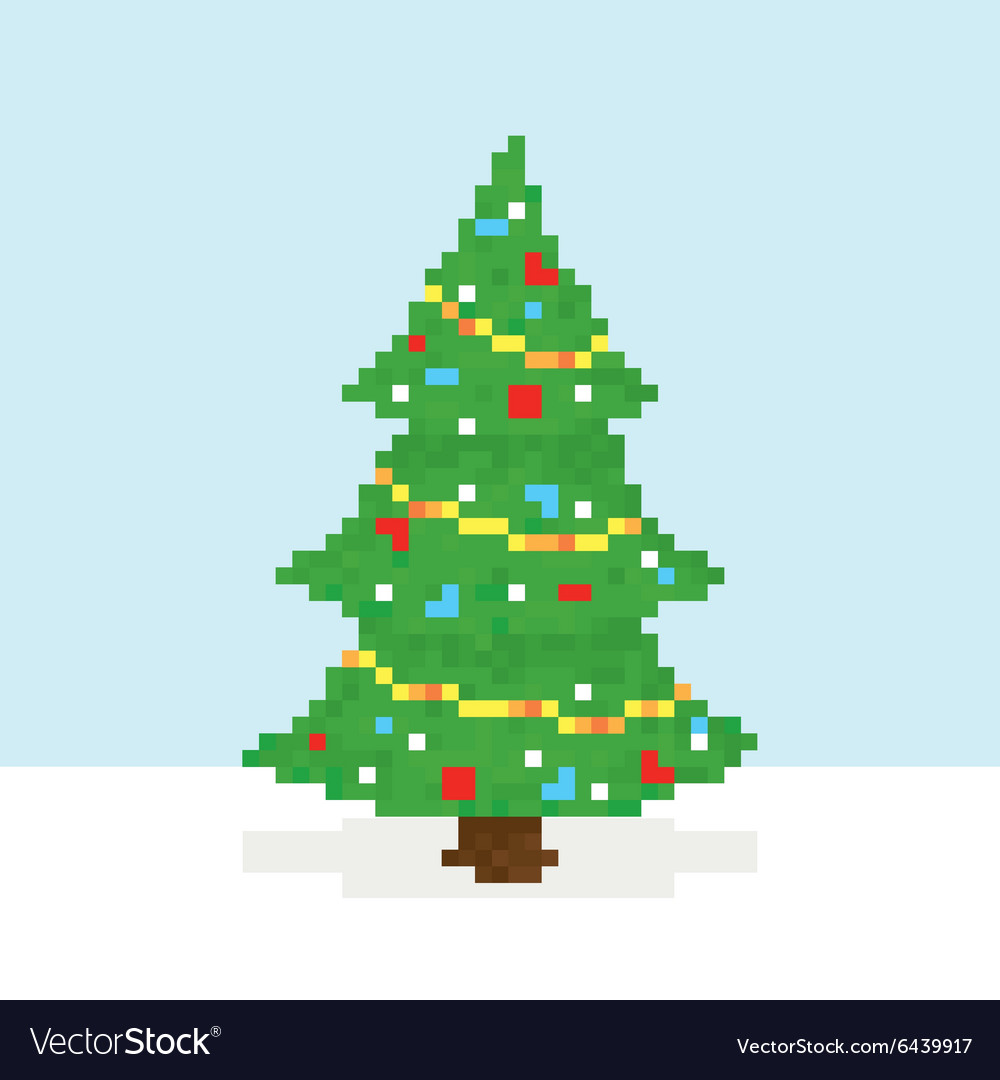 Christmas Tree Art.Pixel Art Christmas Tree Postcard