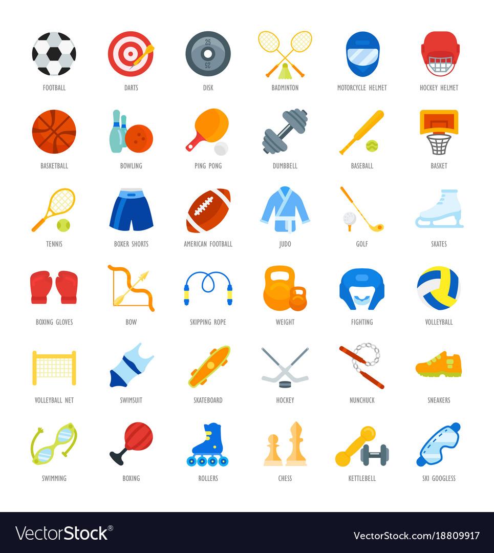 Set flat icons of sports equipment