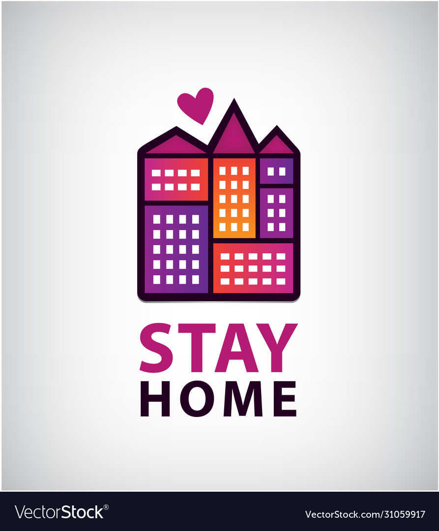Stay home logo heart and house icon