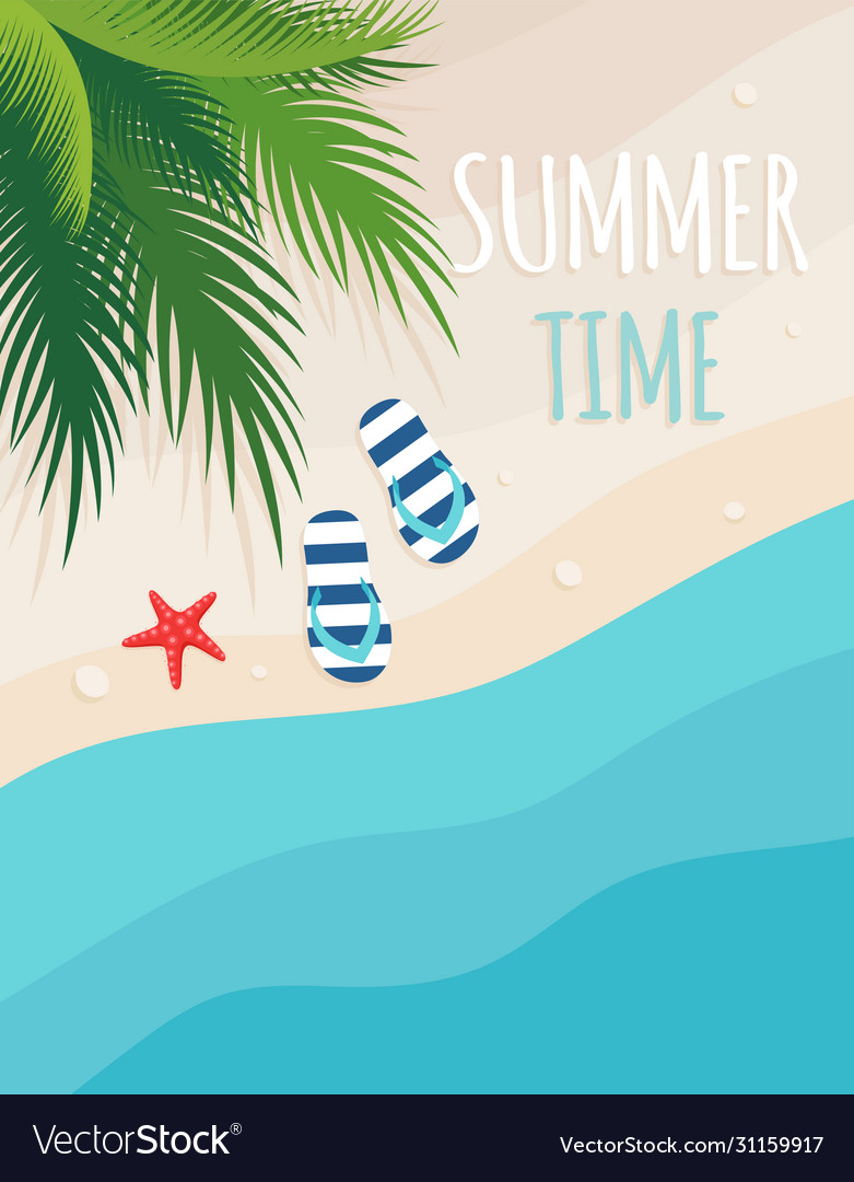 Summer beach card with sand sea and palm trees