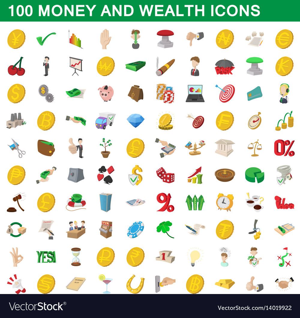 100 money and wealth icons set cartoon style