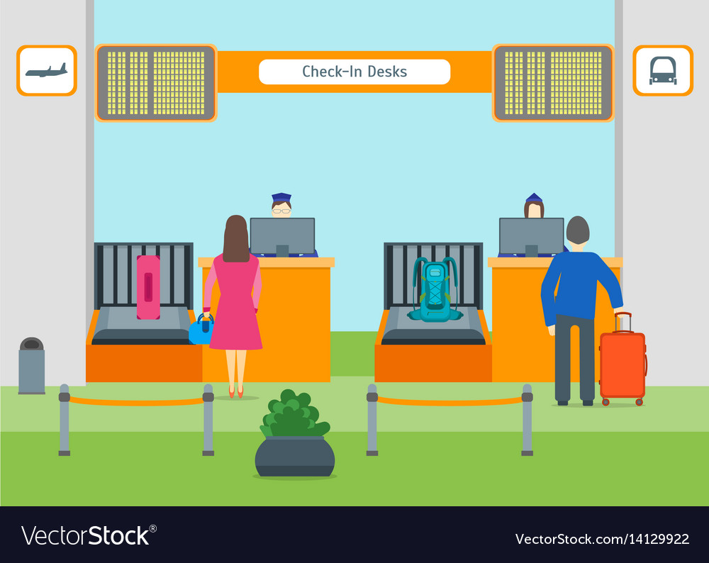 Cartoon Airport Check In Royalty Free Vector Image