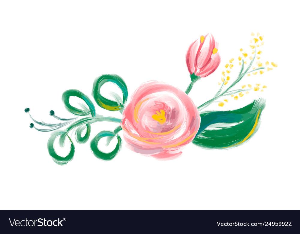 Cute spring watercolor flower bouquet art