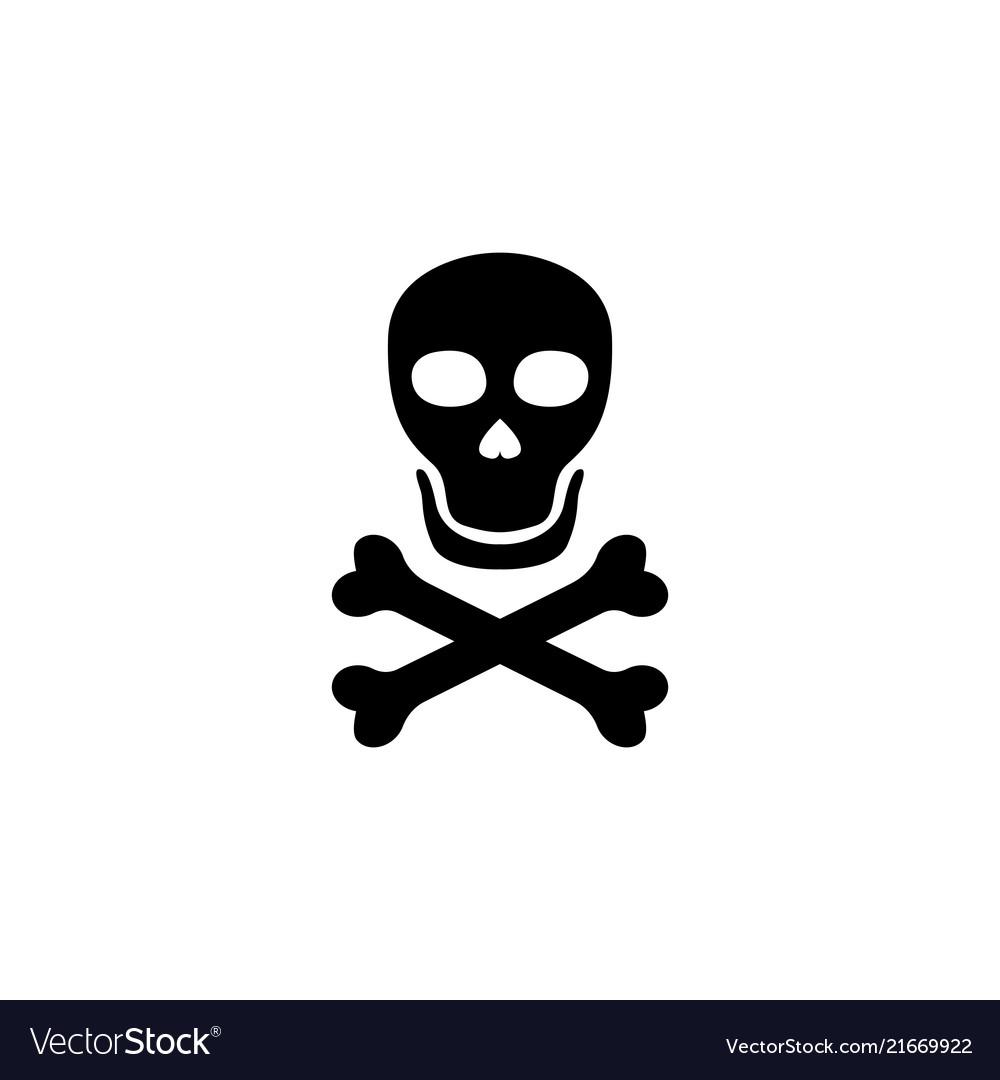 Death skull with crossbones flat icon