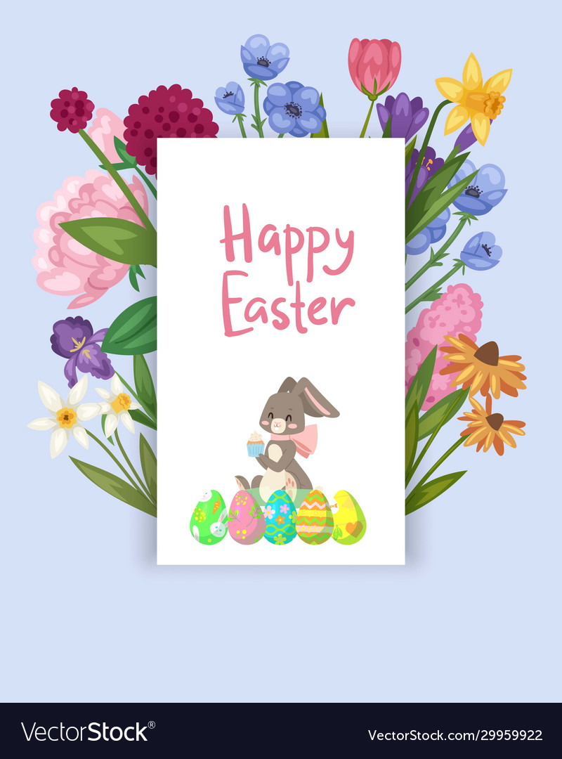 Easter card with spring flowers and cute babunn