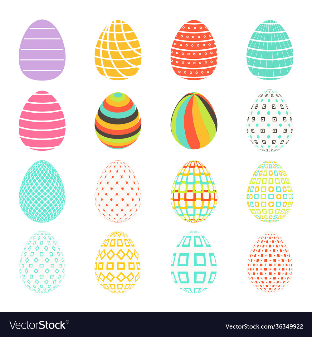 Easter spring set colored isolated eggs