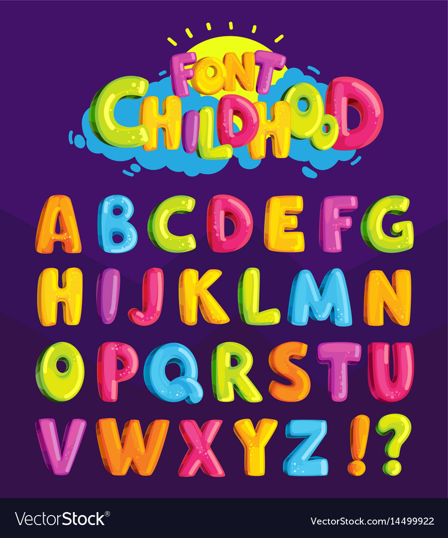 Font in the cartoon style childhood