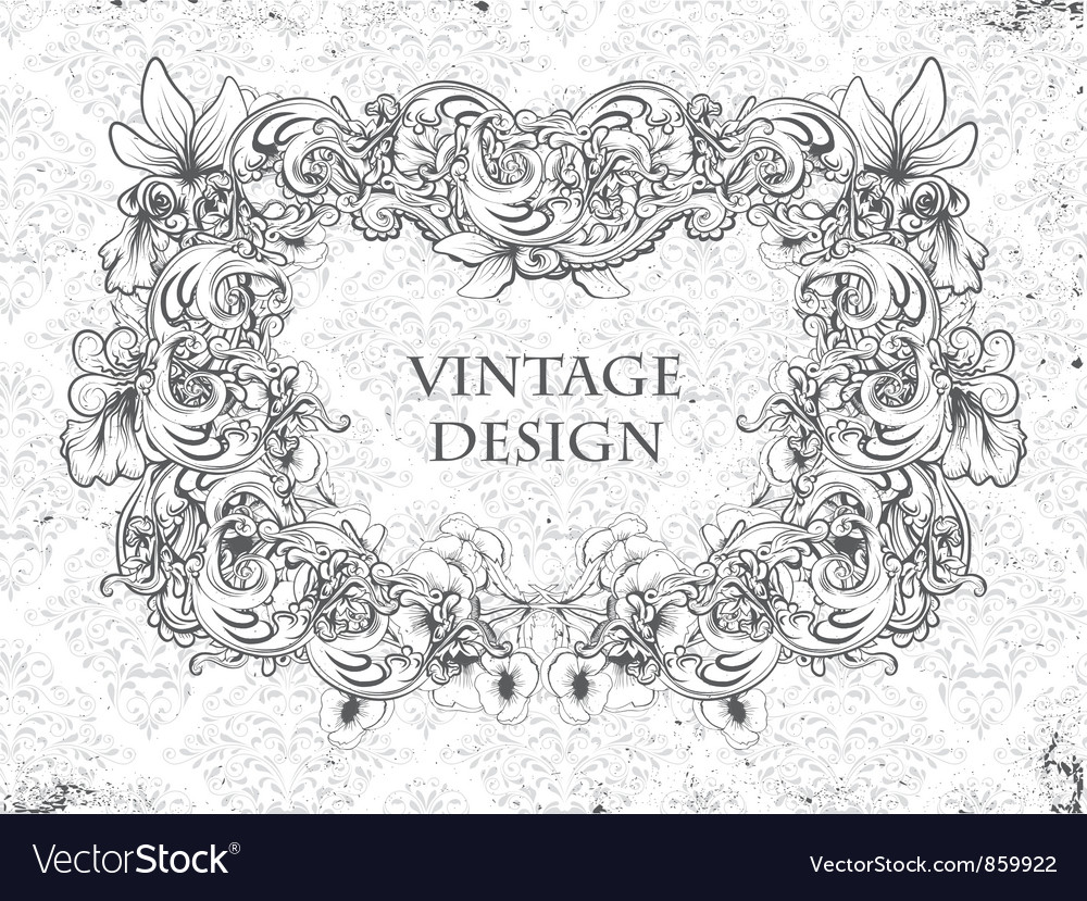 Grunge damask background with floral frame